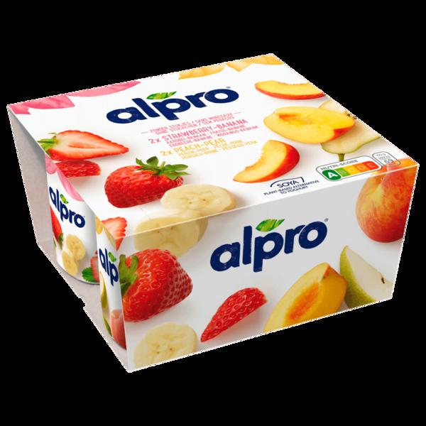 Alpro Soja-Joghurtalternative Erdbeere-Banane & Pfirsich-Birne 4x125g