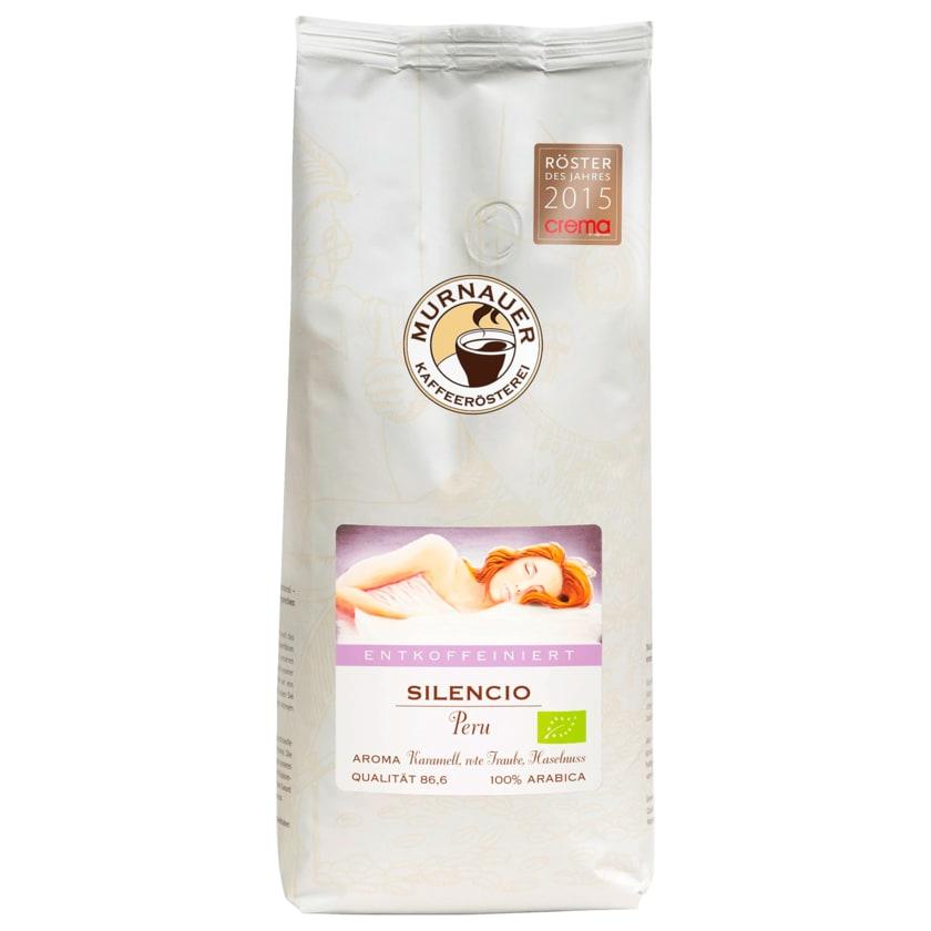 Murnauer Kaffeerösterei Bio Kaffee Silencio Entkoffeiniert aus Peru ganze Bohne 1kg