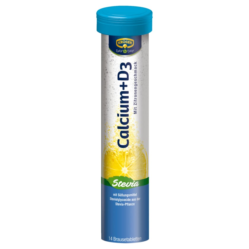 Krüger Day by Day Calcium + D3 Brausetabletten Stevia 98g