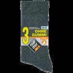 Nur der Herren-Socken ohne Gummi schwarz 43-46 3 Stück
