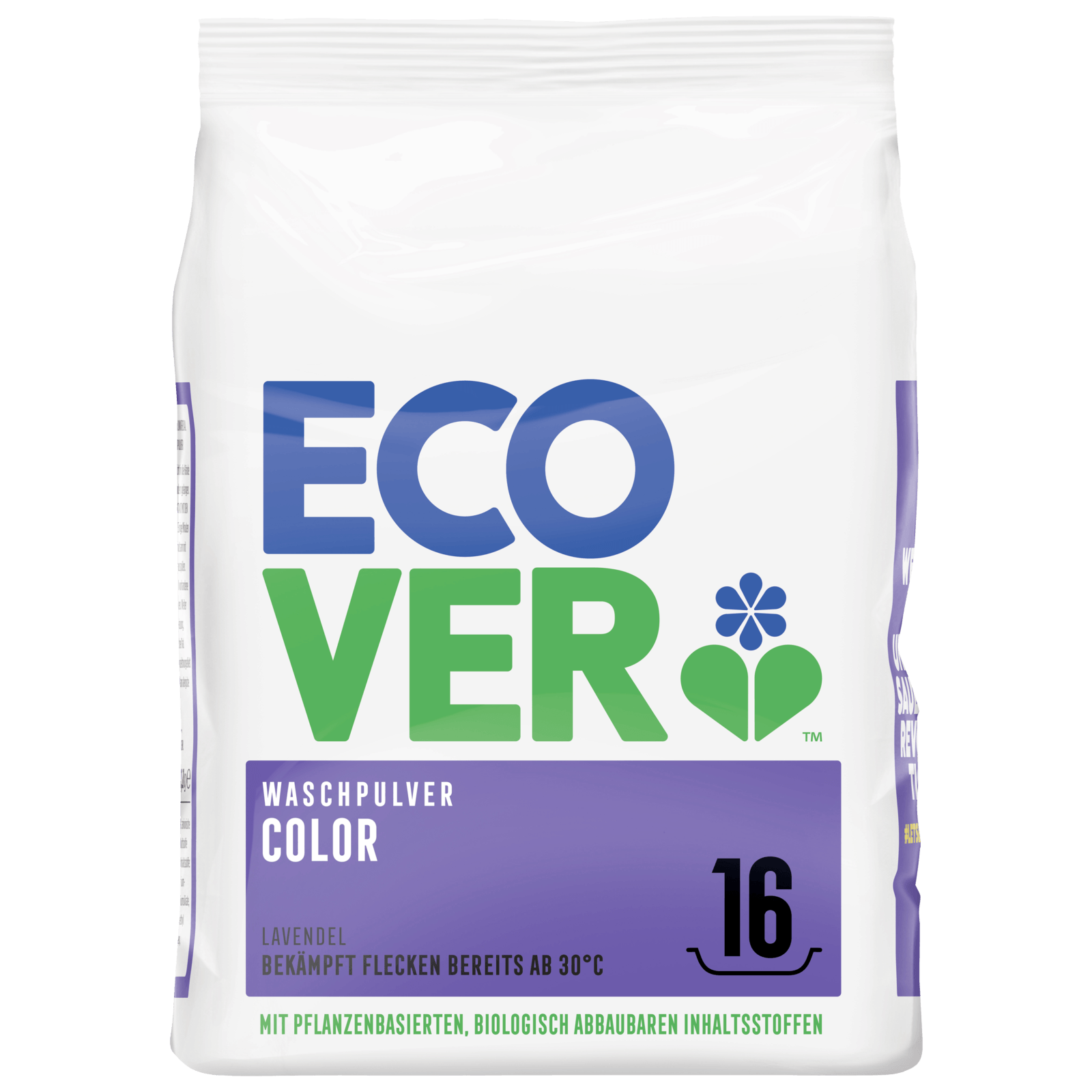 Ecover Color Waschpulver Konzentrat Lavendel 1,2kg, 16WL