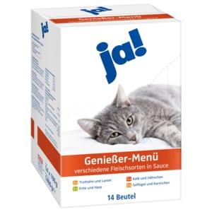 ja! Katzenfutter Genießer-Menü Verschiedene Fleischsorten in Sauce 14x100g