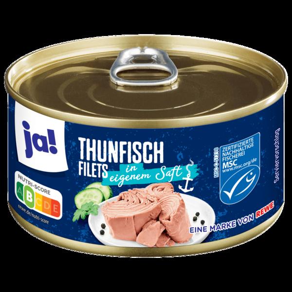 ja! Thunfischfilets in eigenem Saft geschnitten 195g
