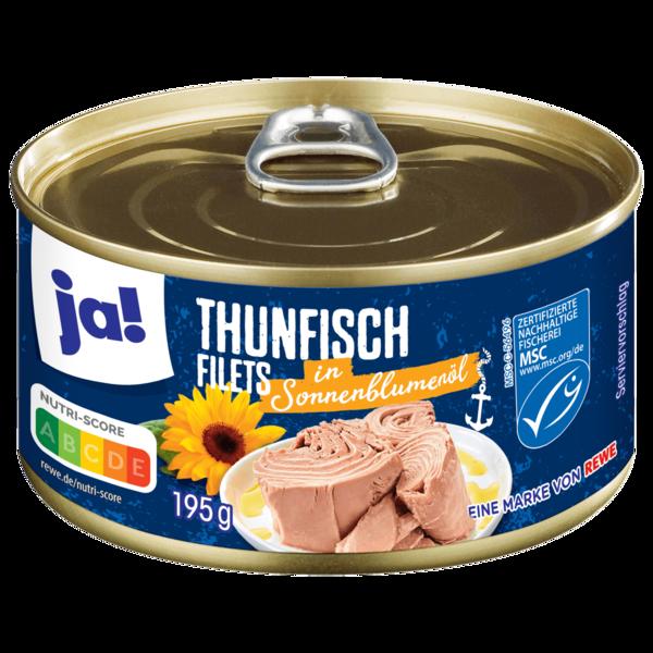 ja! Thunfischfilets in Sonnenblumenöl 195g