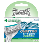 Wilkinson Sword Quattro Titanium Sensitive Rasierklingen 4 Stück