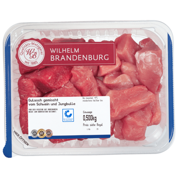 Wilhelm Brandenburg Gulasch vom Schwein & Jungbullen gemischt 500g