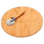 Kesper Pizzateller mit Pizza-Schneider aus FSC-zertifiziertem Bambus
