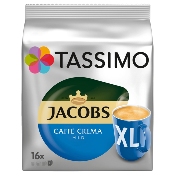 Tassimo Kaffeekapseln Jacobs Caffé Crema mild 128g, 16 Kapseln