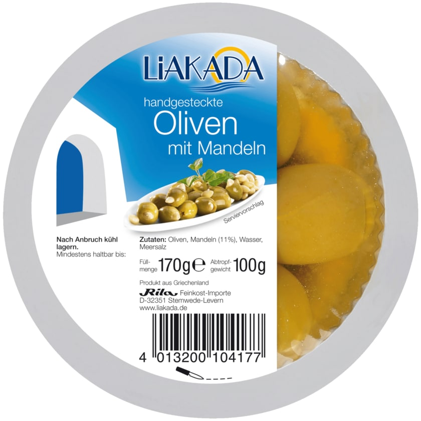 Liakada Grüne Oliven mit Mandeln 100g