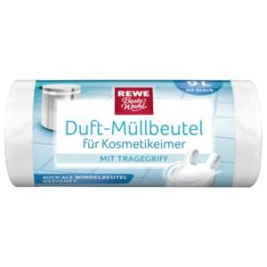 REWE Beste Wahl Duft-Müllbeutel für Kosmetikeimer mit Tragegriff 9l