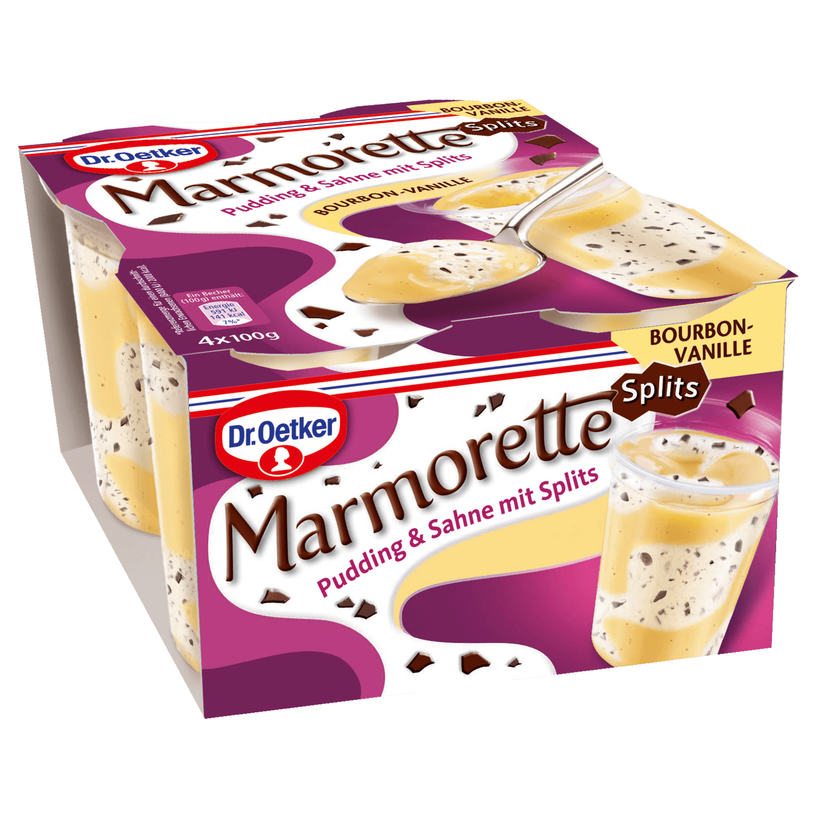 Dr. Oetker Marmorette Pudding Vanille mit Splits 4x100g