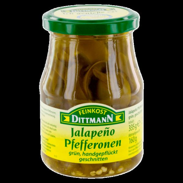 Feinkost Dittmann Jalapeño-Pfefferonen grün & geschnitten 160g