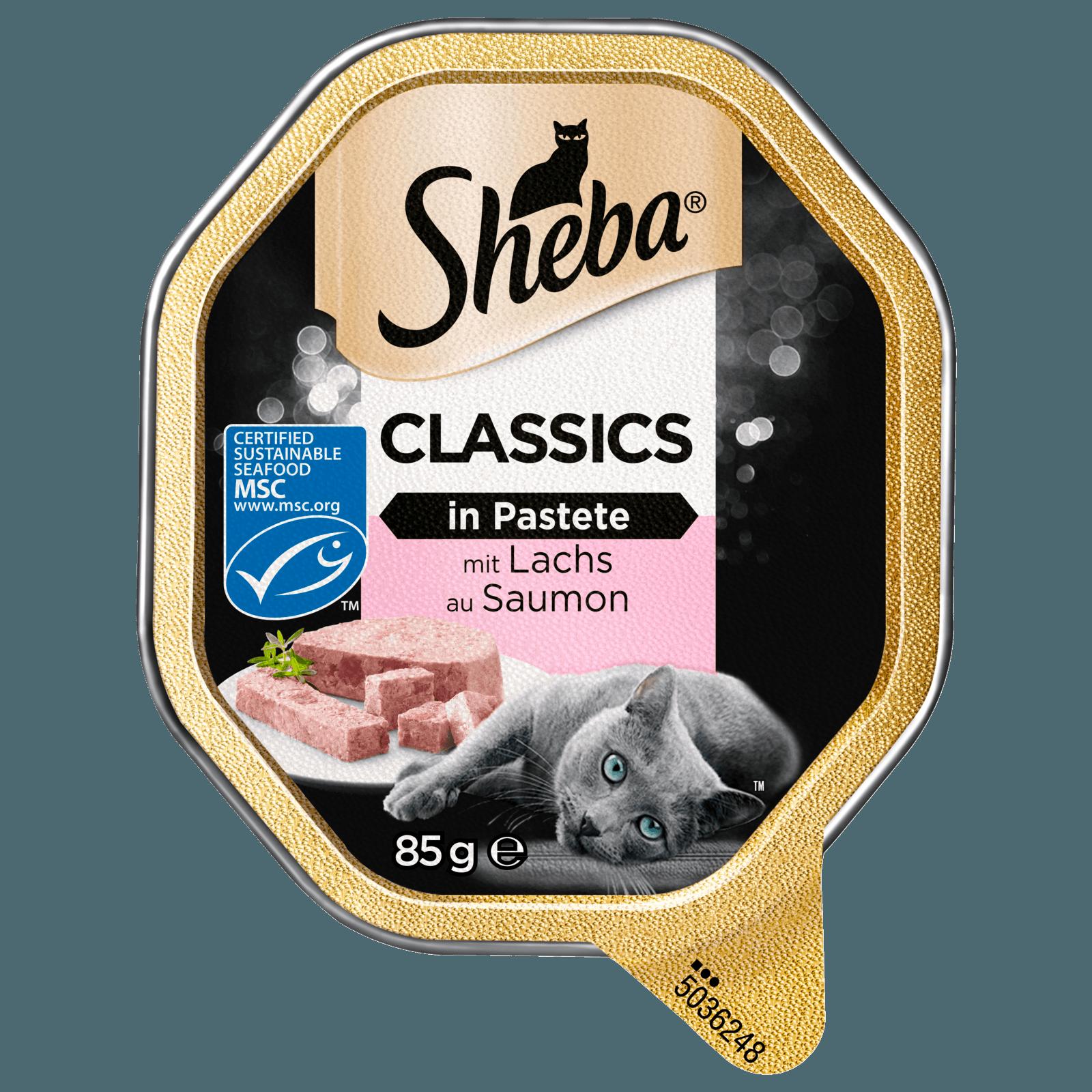 Sheba Katzenfutter Classics in Pastete mit Lachs 85g