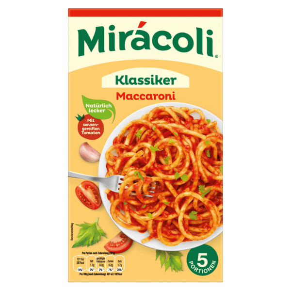 Mirácoli Maccaroni mit Tomatensauce 5 Portionen 581g