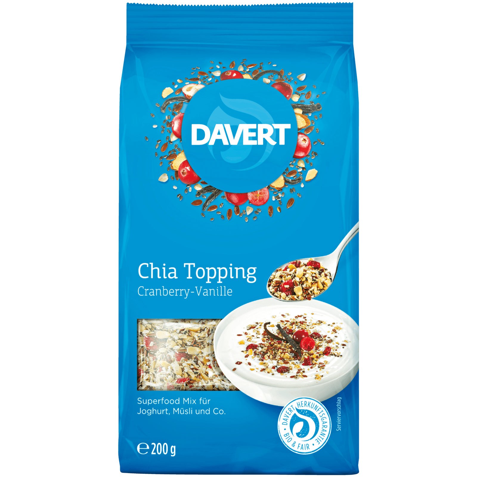 Davert Chia Topping Cranberry-Vanille 200g
