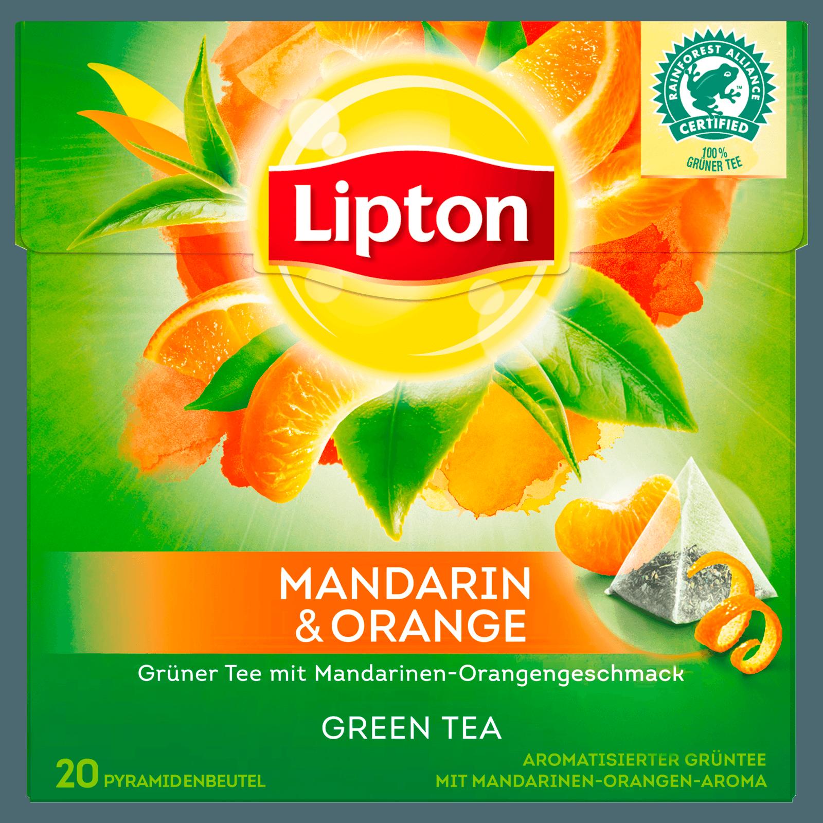 Lipton Grüner Tee Mandarine Orange Pyramidenbeutel 36g, 20 Stück