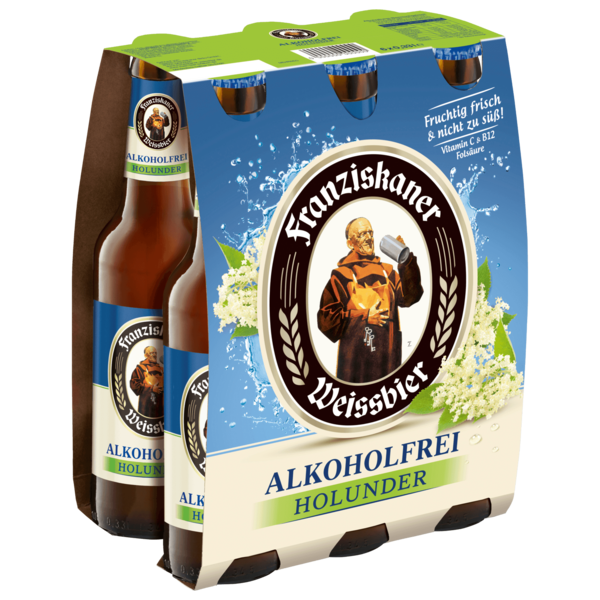 Franziskaner Weißbier Alkoholfrei Holunder 6x0,33l