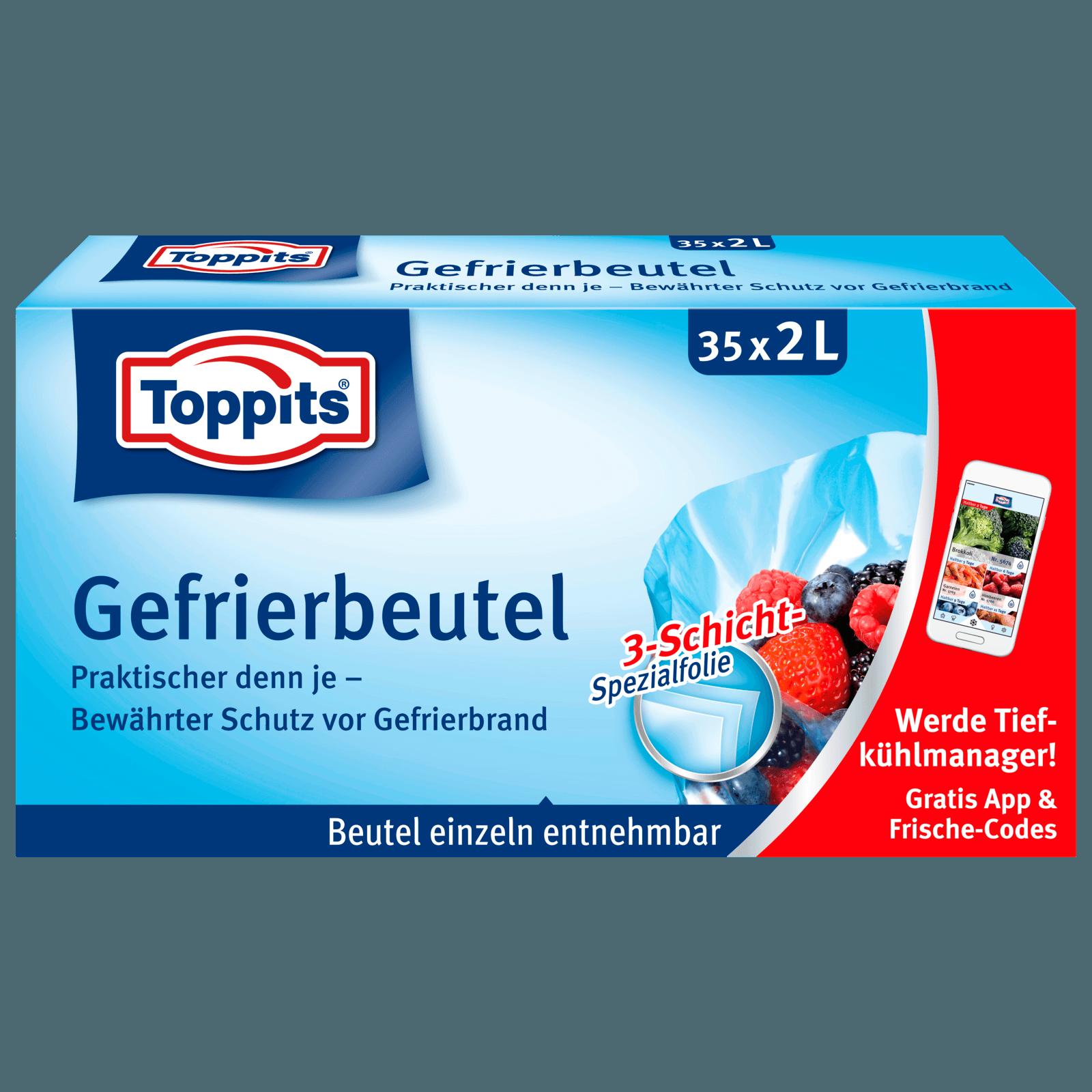 Toppits Gefrierbeutel mit Standboden 2l, 35 Stück