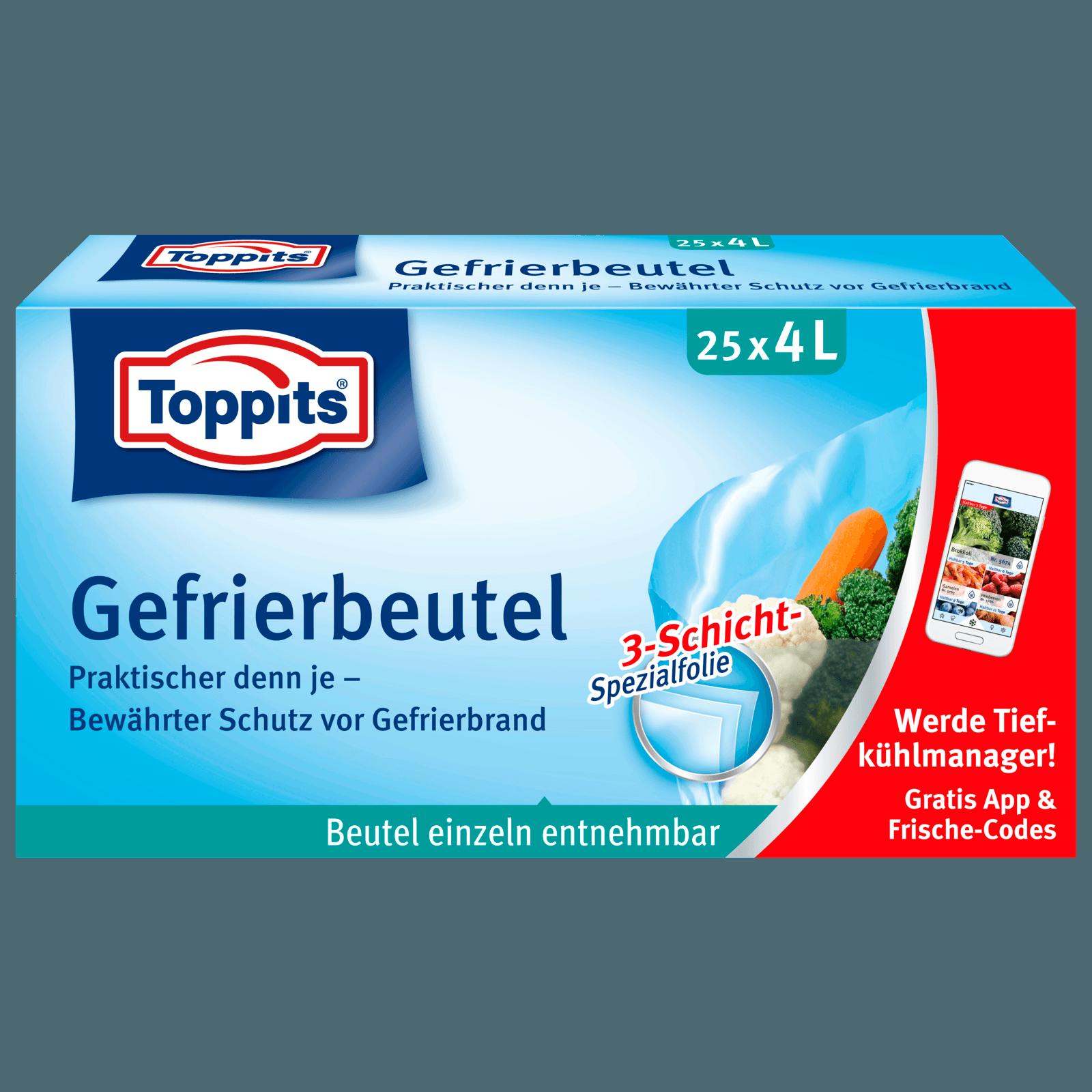 Toppits Gefrierbeutel mit Standboden 4l, 25 Stück