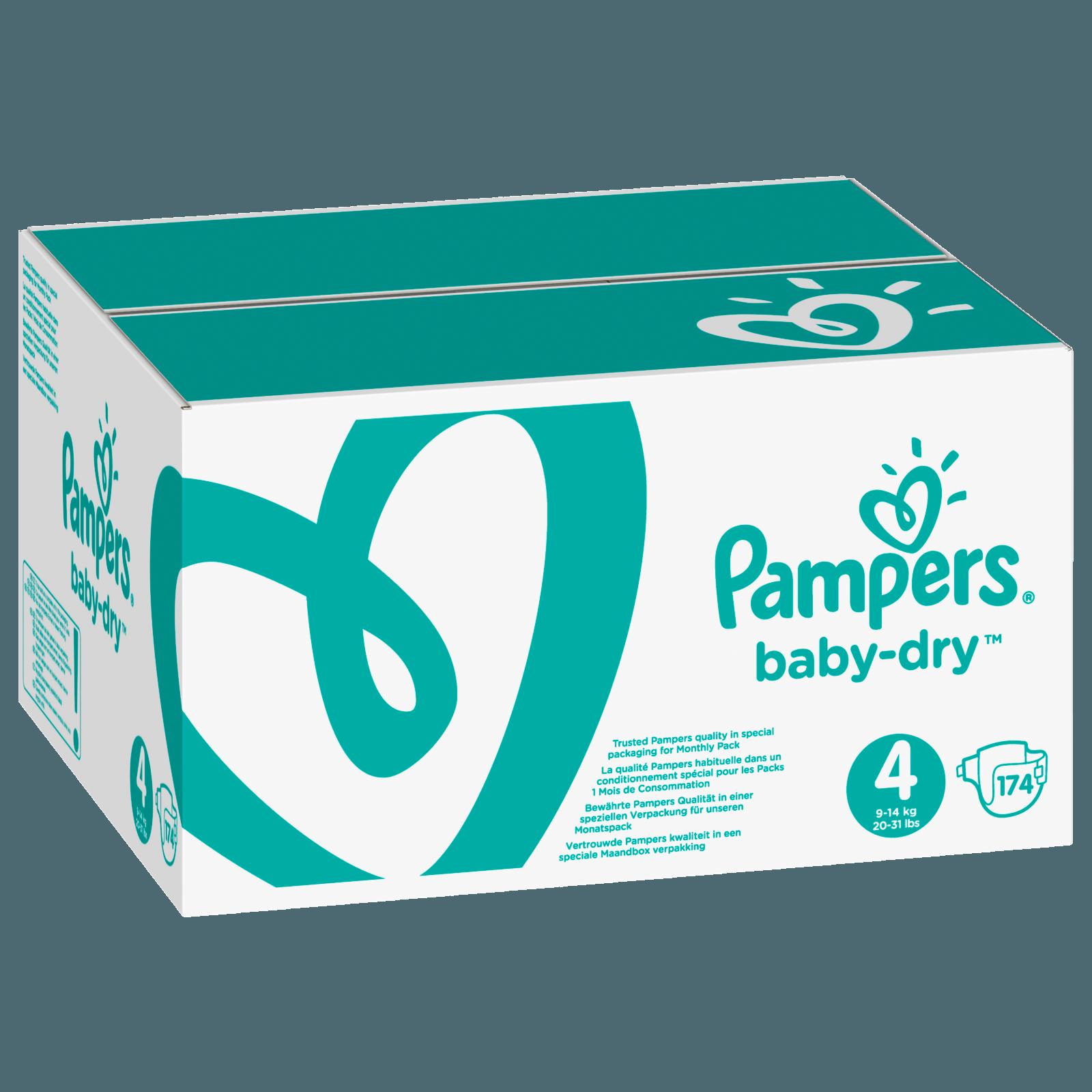Pampers Baby Dry Gr. 4 Maxi 7-18kg Monatsbox 174 Stück