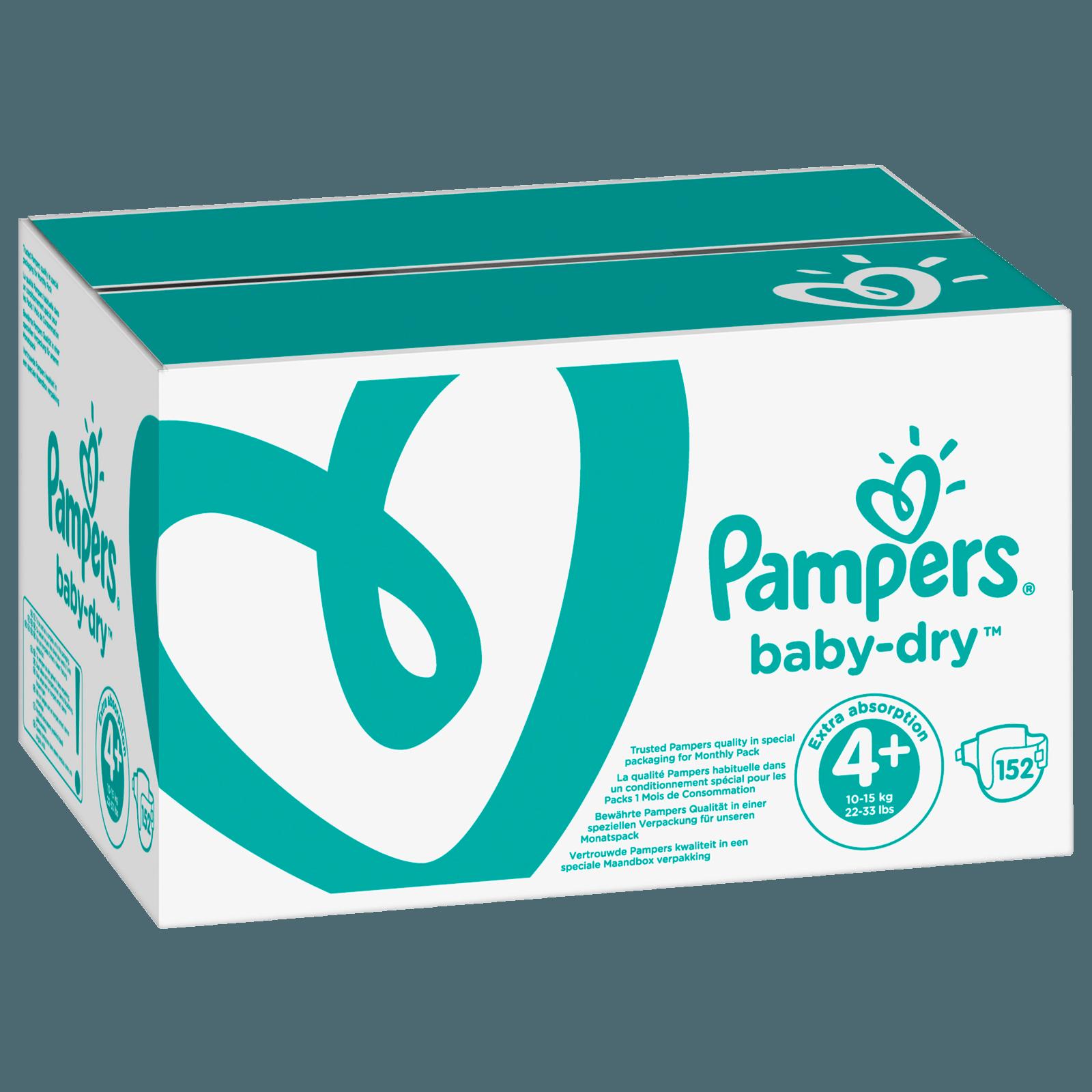 Pampers Baby Dry Gr. 4+ Maxi Plus 9-20kg Monatsbox 152 Stück
