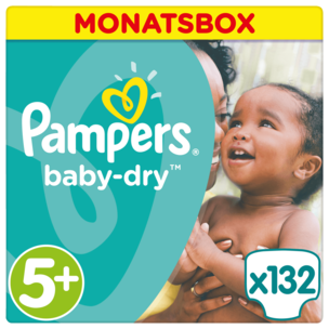 Pampers Baby Dry Gr. 5+ Junior Plus 13-27kg Monatsbox 132 Stück