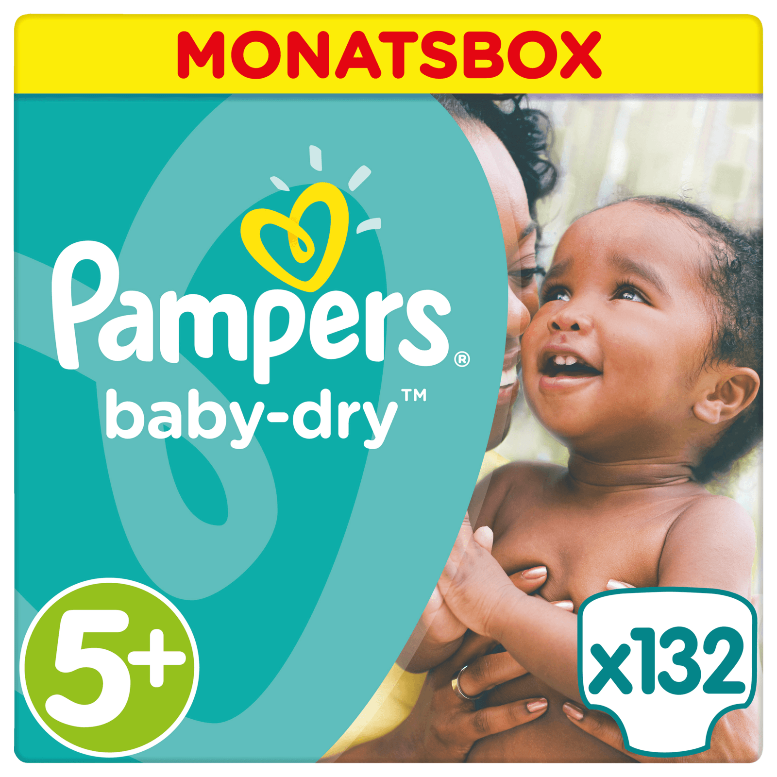 Pampers Baby Dry Gr. 5+ Junior Plus 13-27kg Monatsbox 132 Stück