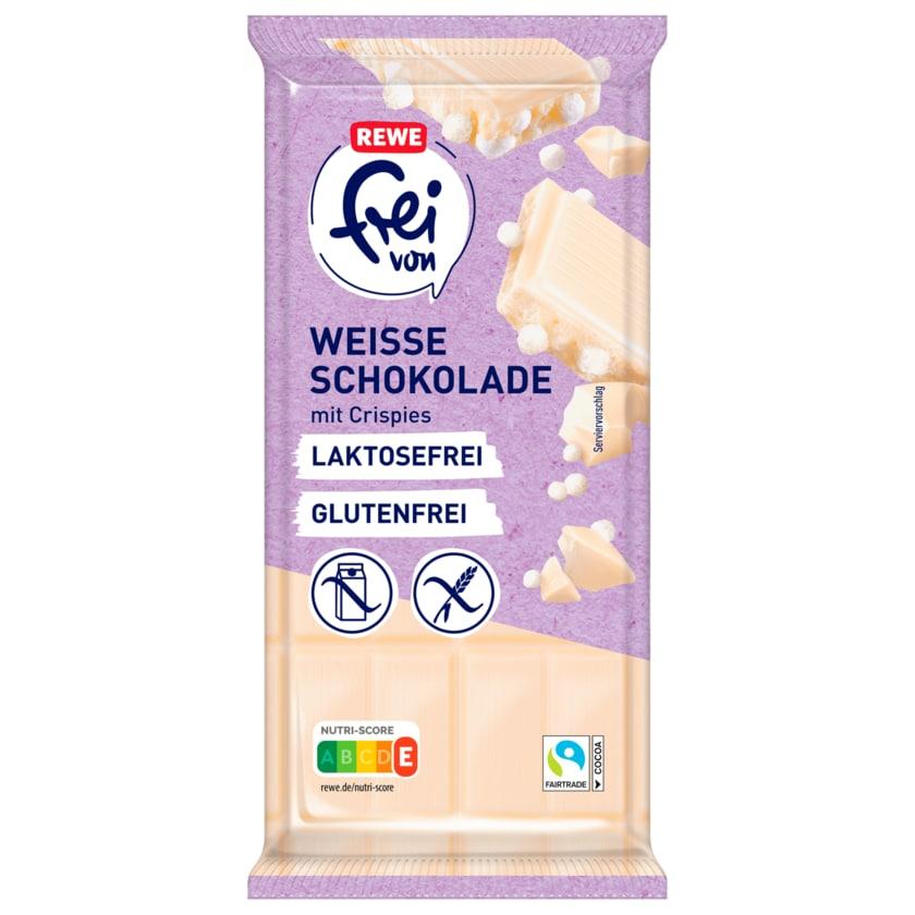 REWE frei von Weiße Schokolade mit Crispies laktosefrei glutenfrei 100g