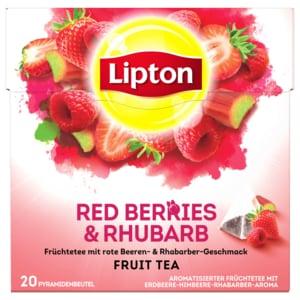 Lipton Früchtetee Erdbeere, Himbeere, Rhabarber Pyramidenbeutel 38g, 20 Beutel