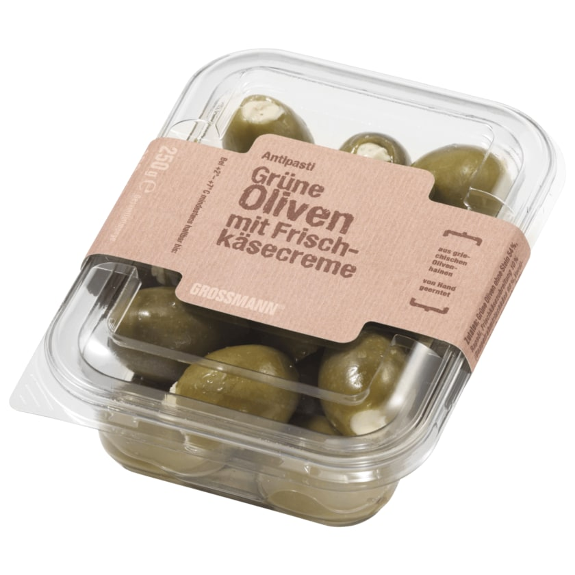 Grossman grüne Oliven mit Frischkäsefüllung 150g