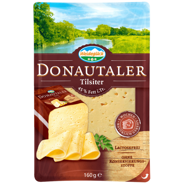 Weideglück Donautaler Tilsiter 45% Fett i. Tr. Aufschnitt 160g
