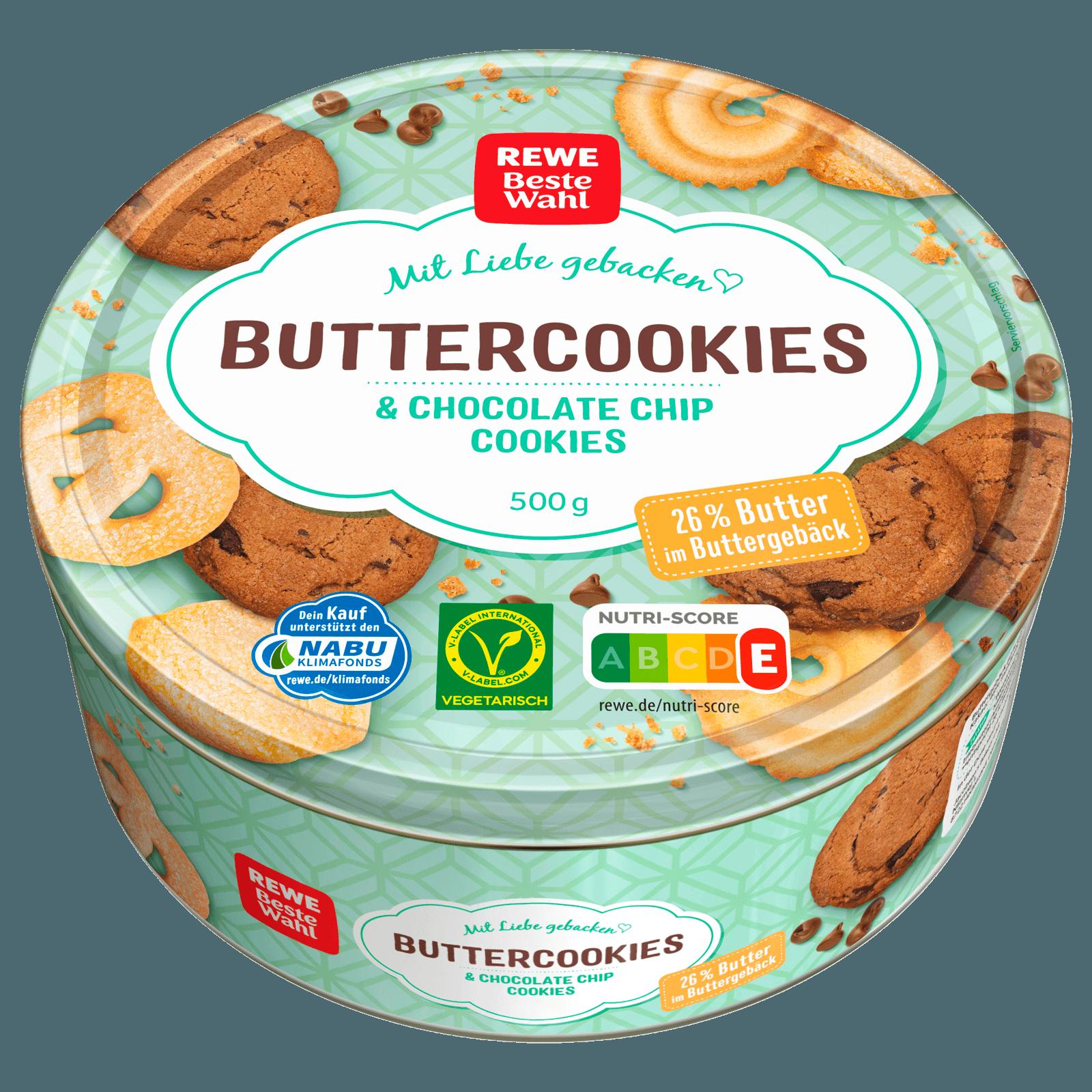 REWE Beste Wahl Danish Buttercookies & Chocolate Chip Cookies 20g ...