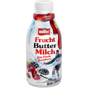 Müller Fruchtbuttermilch Rote Traube Brombeere 500g