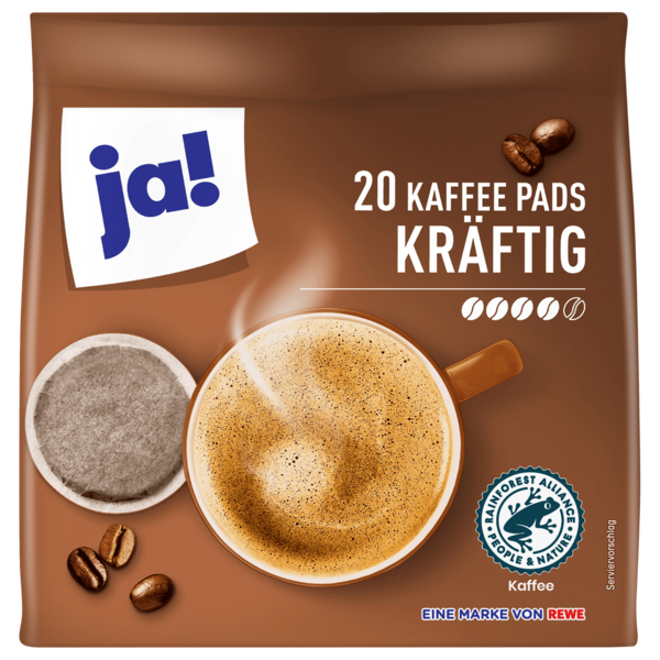 ja! Kräftige Kaffee Pads 144g, 20 Pads