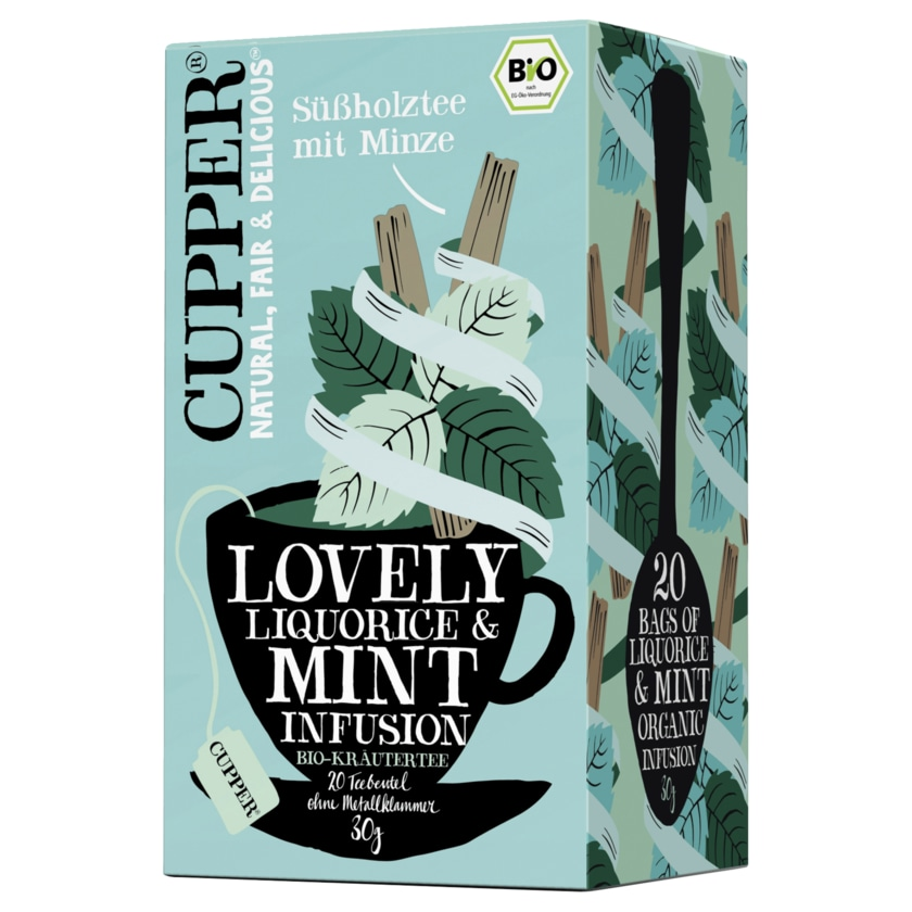 Cupper Tee Süßholztee mit Minze 30g, 20 Beutel