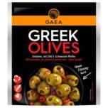 Gaea Griechische entsteinte grüne Oliven mit Chili und schwarzem Pfeffer 150g