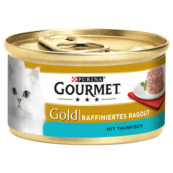 gourmet gold katzenfutter ragout mit thunfisch 85g bei rewe online bestellen. Black Bedroom Furniture Sets. Home Design Ideas