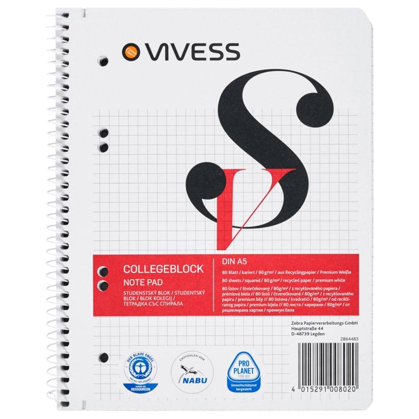 Vivess Collegeblock A5 kariert