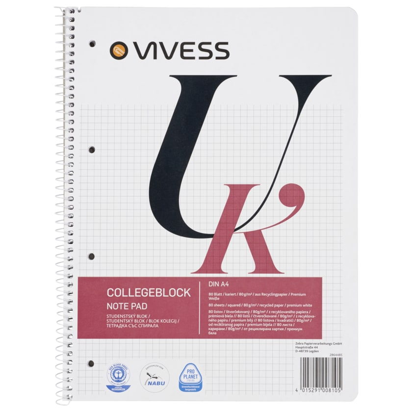Vivess Collegeblock A4 kariert