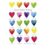 Vivess Geburtstagskarte bunte Herzen