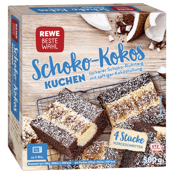 rewe beste wahl schoko kokos kuchen 500g bei rewe online. Black Bedroom Furniture Sets. Home Design Ideas