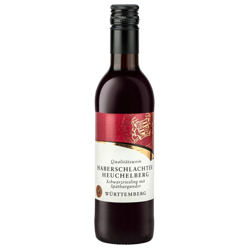 Württemberg Rotwein Haberschlachter Heuchelberg Schwarzriesling mit Spätburgunder QbA halbtrocken 0,25l