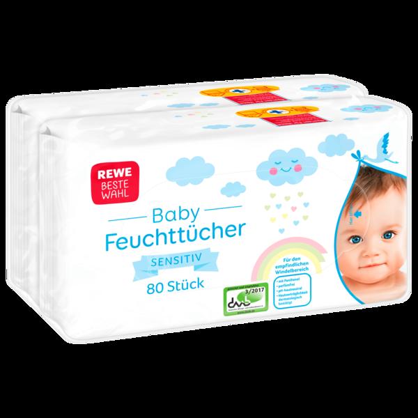 REWE Beste Wahl Baby Feuchttücher Sensitiv 2x80 Stück