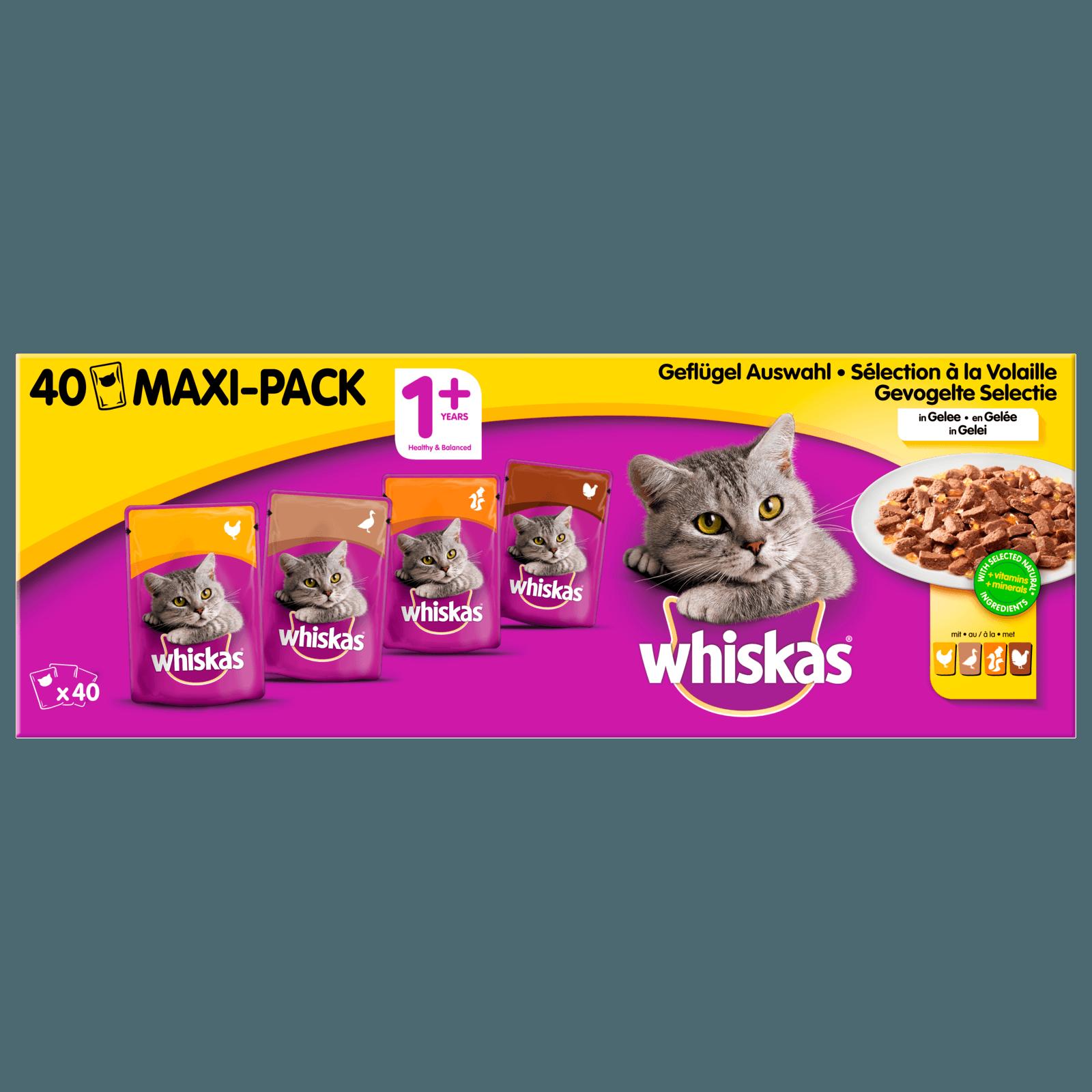 Whiskas Katzenfutter 1+ Geflügelauswahl in Gelee 40x100g