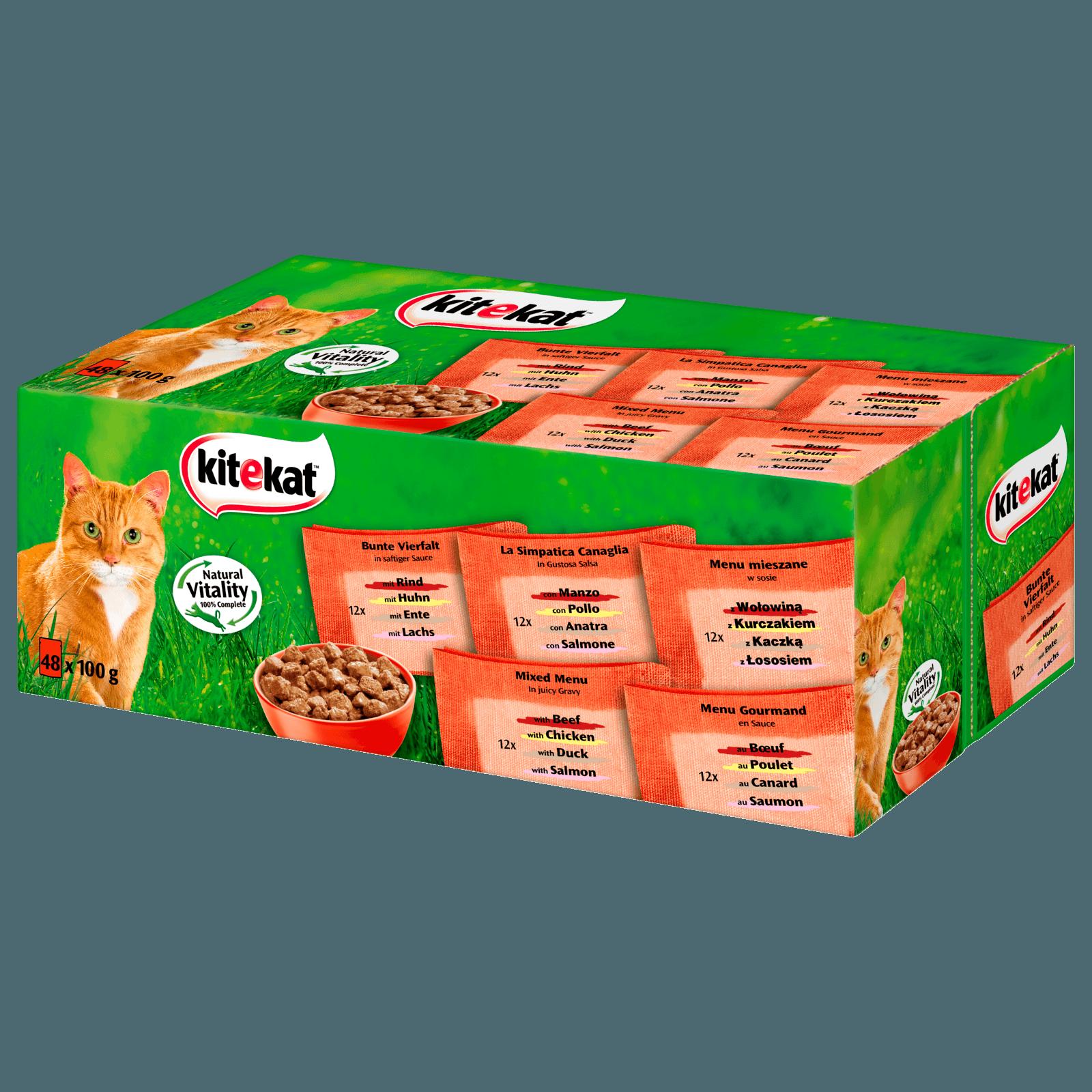 Kitekat Katzenfutter Bunte Vierfalt in Sauce 48x100g