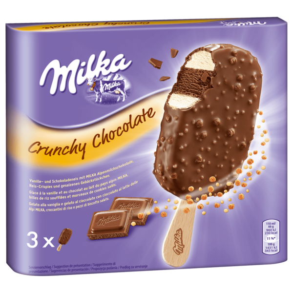 Milka Crunchy Chocolate Stieleis 3x110ml