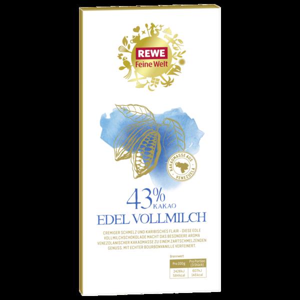 REWE Feine Welt Edel Vollmilchschokolade 43% 100g