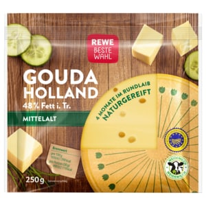 REWE Beste Wahl Gouda Holland mittelalt 48% Fett 250g