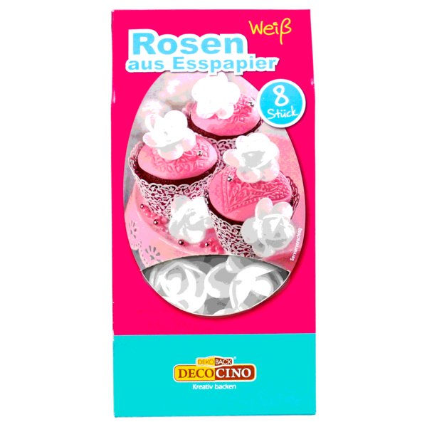 Dekoback Rosenblüten Weiß aus Oblaten 8er