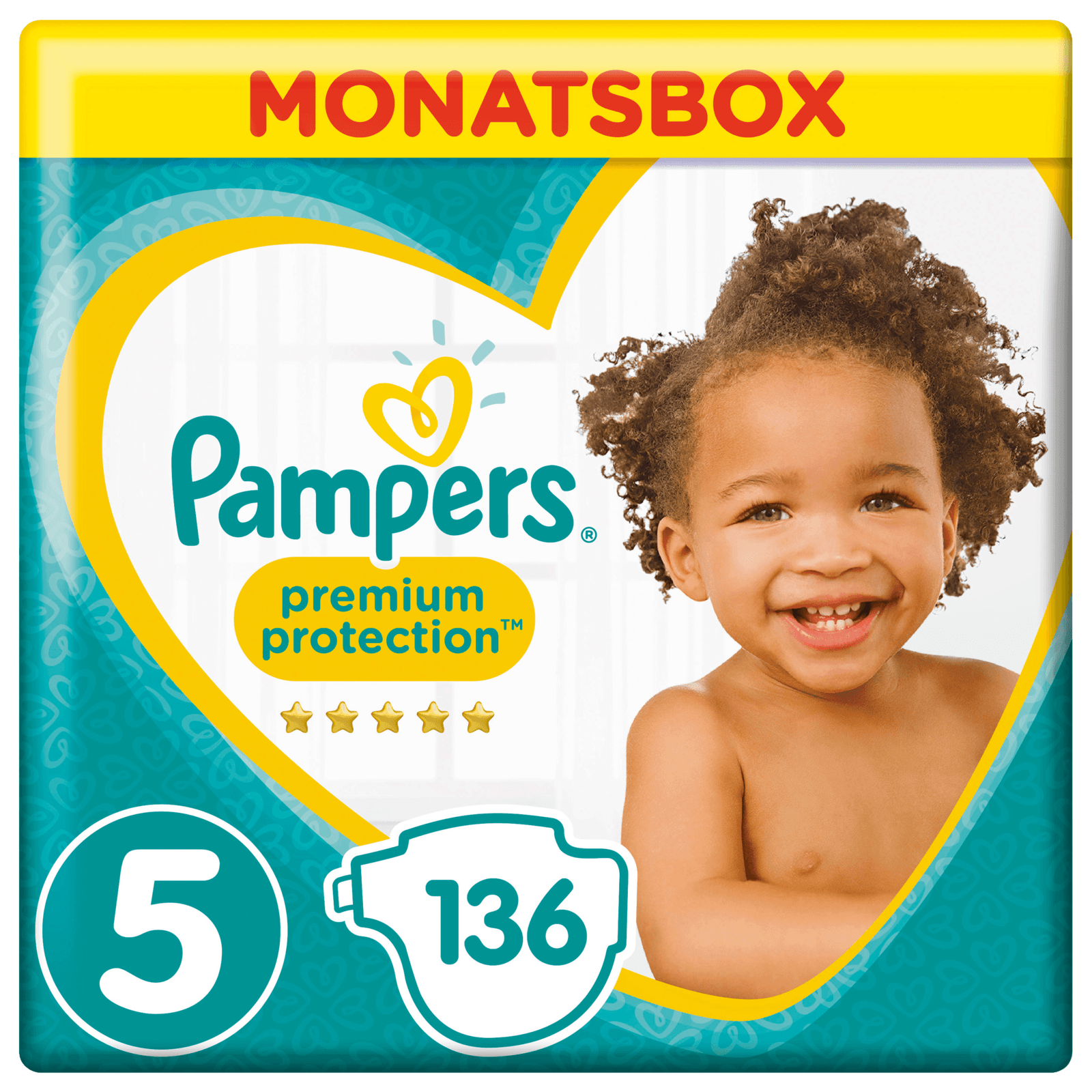 Pampers Premium Protection Gr. 5 Junior 11-23kg Monatsbox 136 Stück